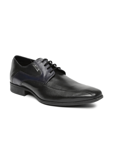 Provogue Men Black Square-Toed Leather Derby Shoes