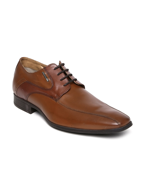 Provogue Men Tan Brown Leather Derbys