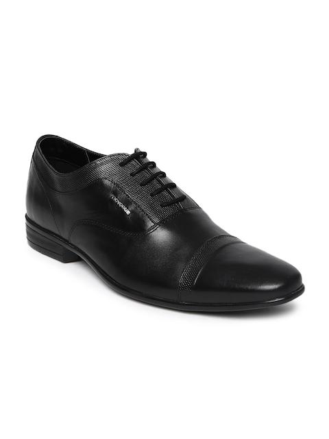 Provogue Men Black Textured Leather Derbys