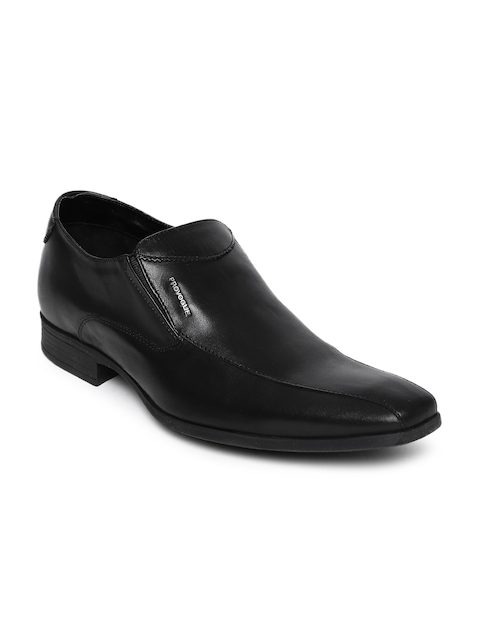 Provogue Men Black Leather Formal Slip-Ons
