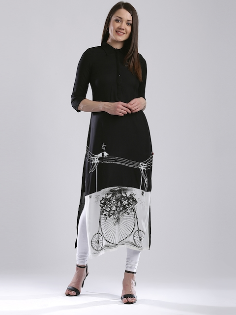 W Women Black & White Printed Colourblocked Kurta