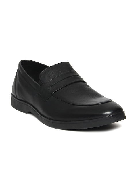 Hush Puppies Men Black Leather Formal Slip-On Shoes