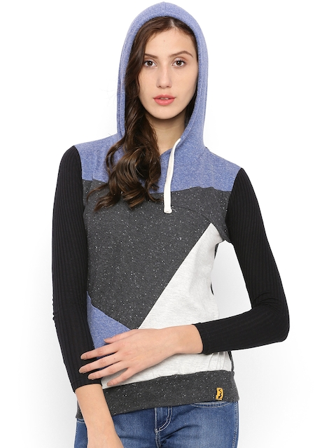 Campus Sutra Multicoloured Colourblocked Hooded Sweatshirt