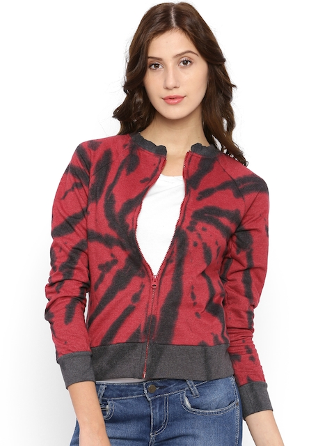 Campus Sutra Red & Grey Printed Sweatshirt