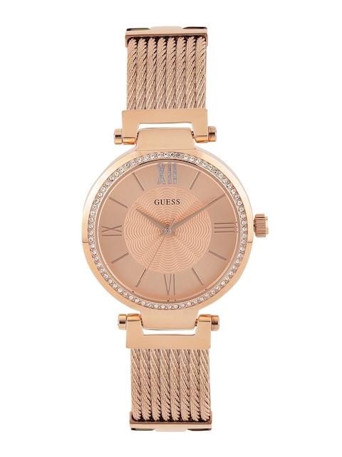 GUESS Women Rose Gold-Toned Dial Watch W0638L4