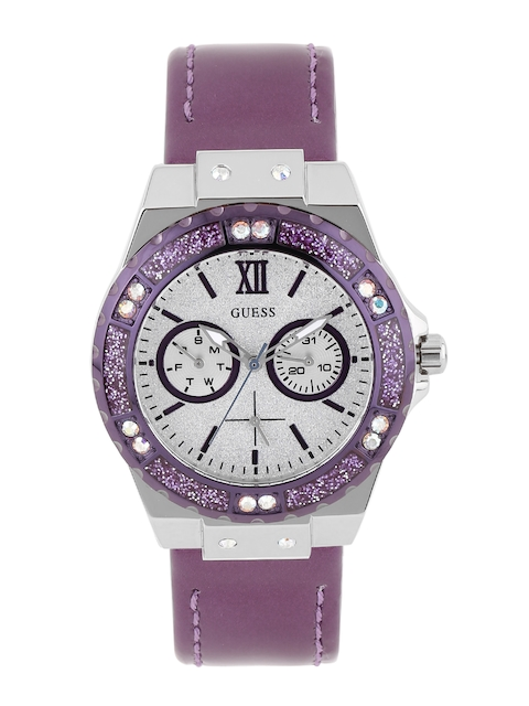 GUESS Women Silver-Toned Multifunction Dial Watch W0775L6