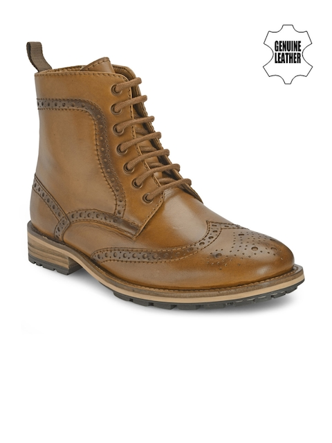 Teakwood Leathers Men Brown Solid High-Tops Boots