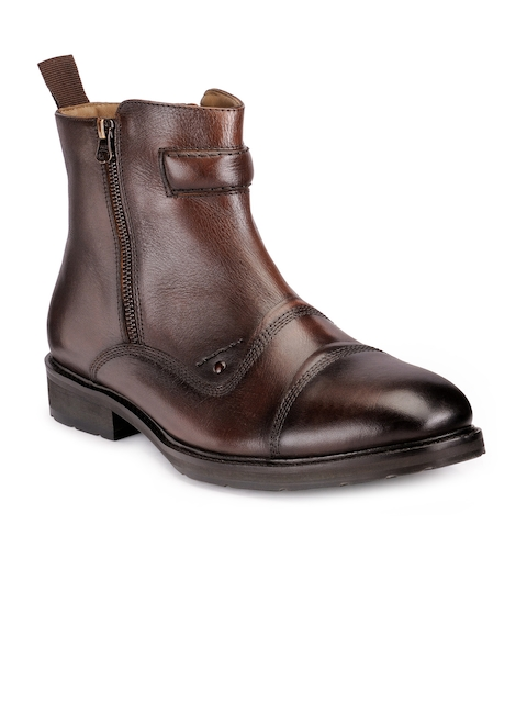 Teakwood Leathers Men Brown Solid High-Top Boots