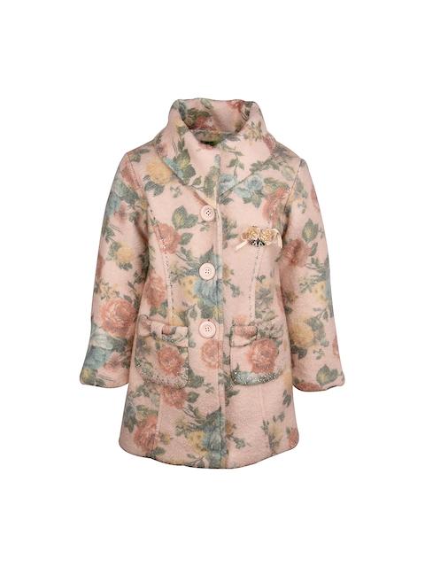 CUTECUMBER Girls Peach-Coloured Floral Print Jacket