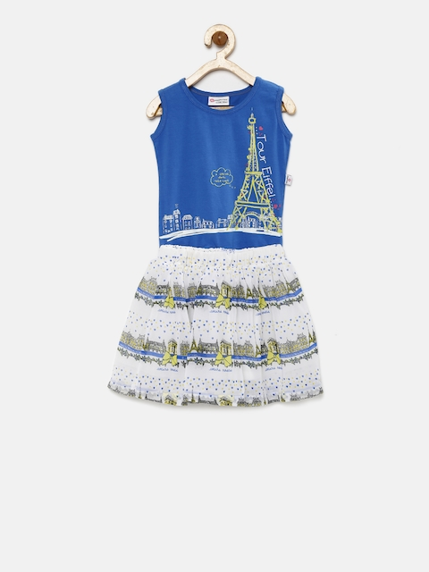Peppermint Girls Blue & Off-White Printed Clothing Set  available at myntra for Rs.479