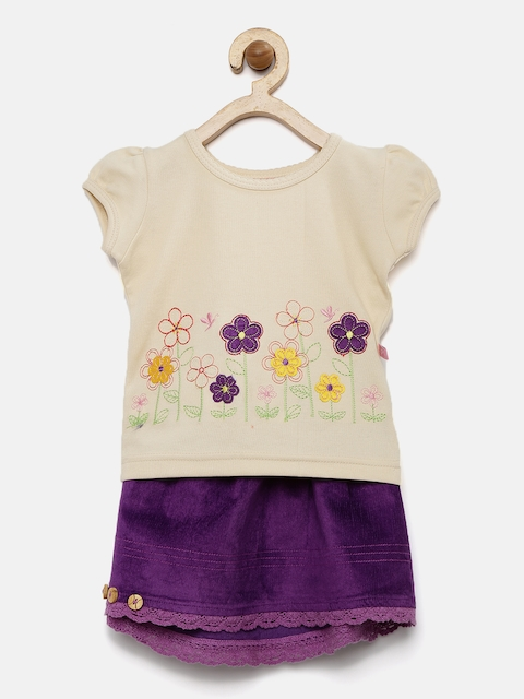 Peppermint Girls Beige & Purple Embroidered Clothing Set  available at myntra for Rs.439