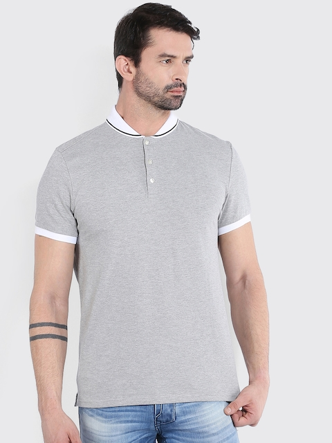 Celio Men Grey Solid Polo T-Shirt  available at myntra for Rs.909