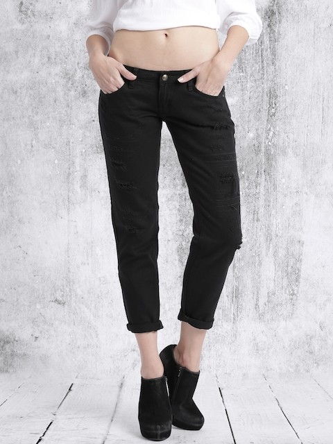 RDSTR Women Black Slim Fit Mid Rise Mildly Distressed Jeans