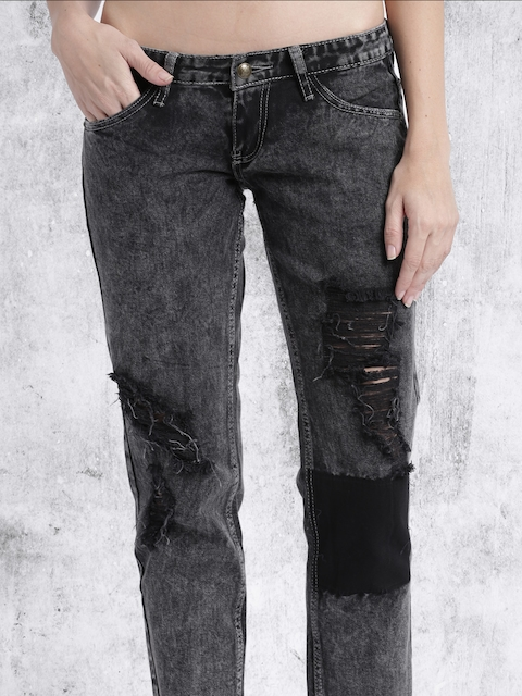 RDSTR Women Black Slim Fit Mid Rise Highly Distressed Jeans