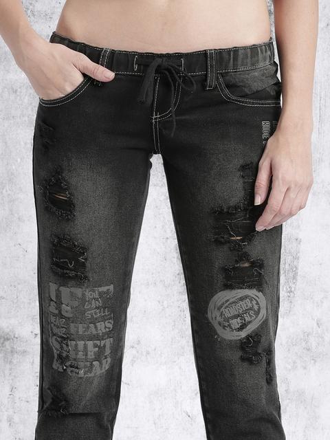 Roadster Black Slim Fit Mid-Rise Mildly Distressed Jeans