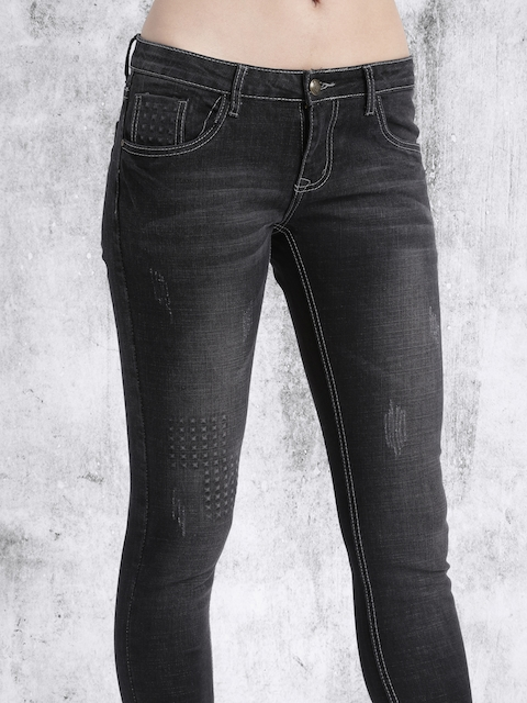 Roadster Women Black Slim Fit Mid Rise Mildly Distressed Jeans