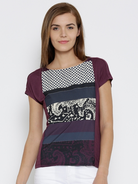 United Colors of Benetton Women Burgundy Printed Top