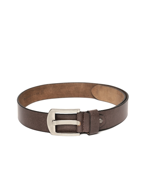 Roadster Men Coffee Brown Textured Handmade Leather Belt