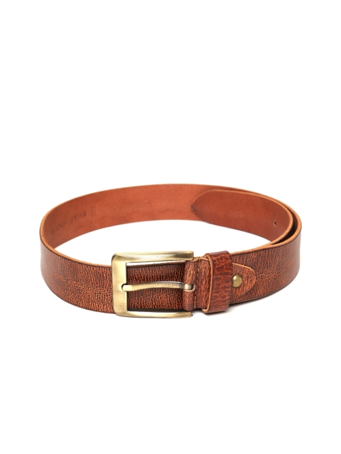 Roadster Men Tan Brown Handmade Textured Leather Belt