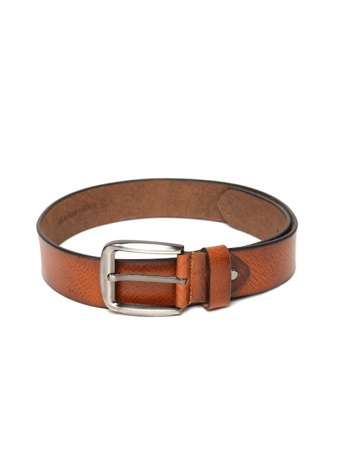Roadster Men Tan Brown Textured Handmade Leather Belt
