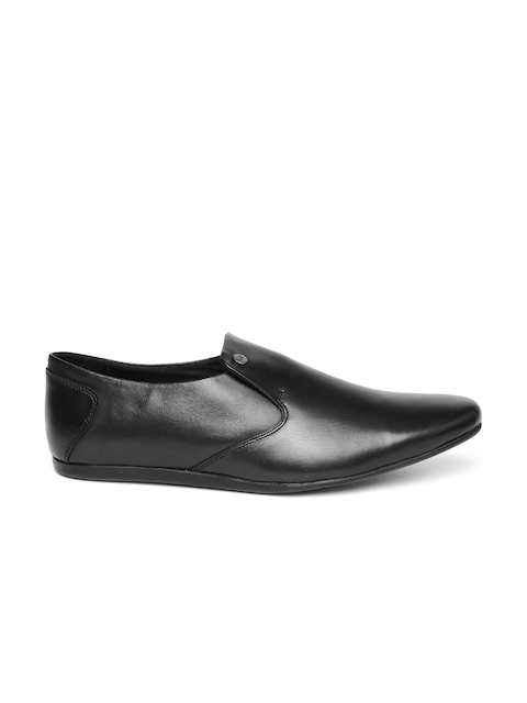 Carlton London Men Black Leather Semiformal Slip-ons