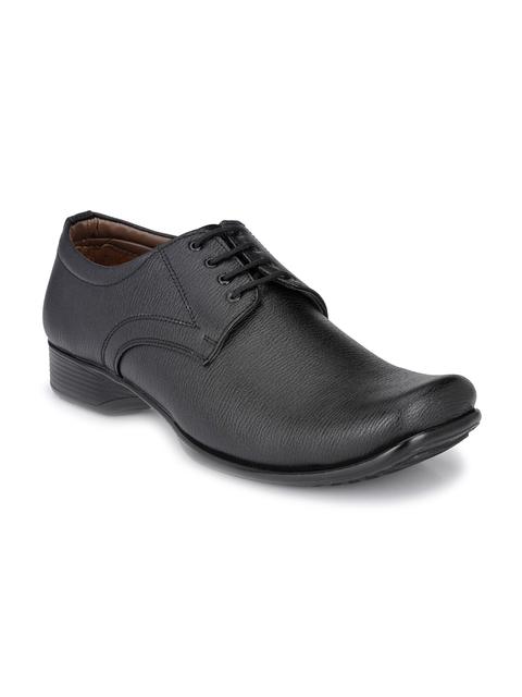 John Karsun Men Black Textured Formal Shoes