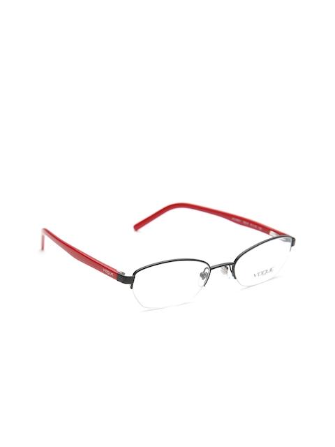 vogue Women Black & Red Half-Rim Rectangular Frames 0VO3842I352S51