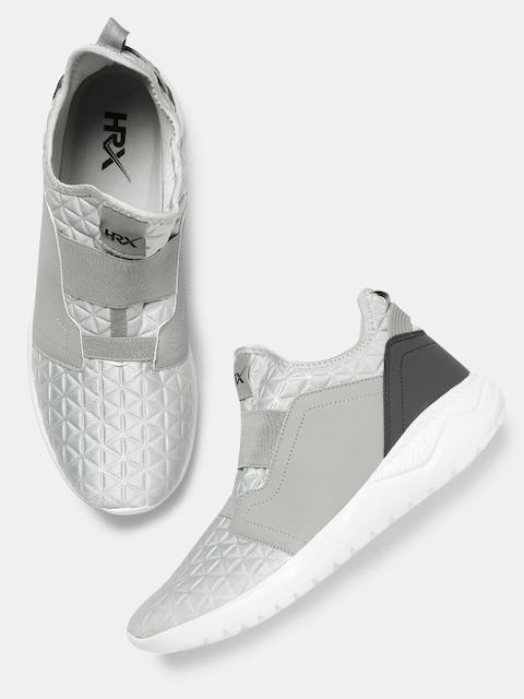HRX by Hrithik Roshan Men Grey Textured Mid-Top Sneakers