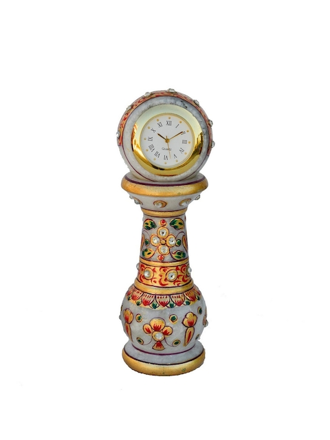 eCraftIndia White Dial Handcrafted 15.24 cm x 5.8 cm Analogue Table Clock