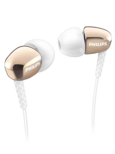 Philips White & Rose Gold-Toned Rich Bass In-Ear Headphones