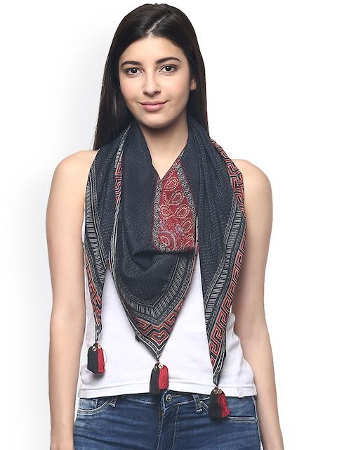 Label Ritu Kumar Grey & Red Printed Silk Scarf