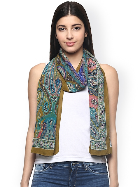 Label Ritu Kumar Multicoloured Paisley Print Chinon Silk Scarf