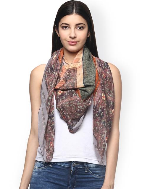 Label Ritu Kumar Multicoloured Printed Silk Scarf