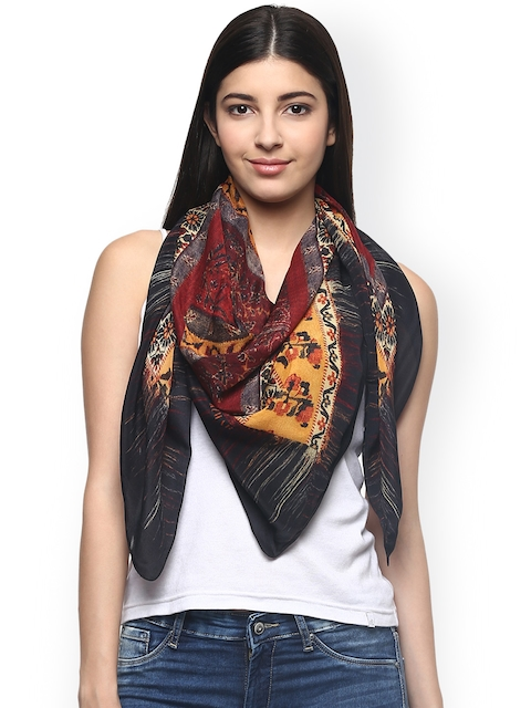 Label Ritu Kumar Multicoloured Printed Chinon Silk Scarf