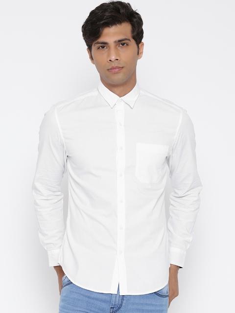 John Players Men White Trim Fit Solid Casual Shirt