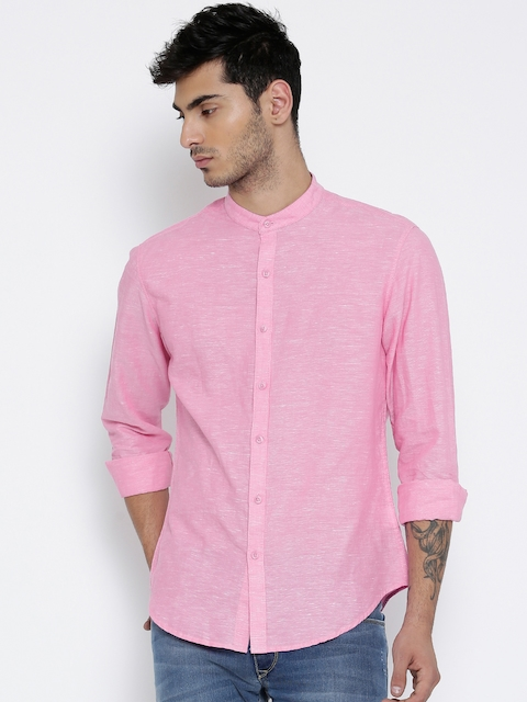 John Players Men Pink Trim Fit Solid Casual Shirt