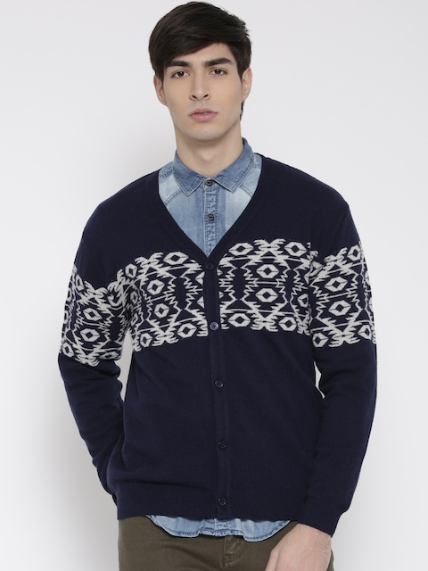 Wills Lifestyle Men Navy Lambswool Patterned Cardigan