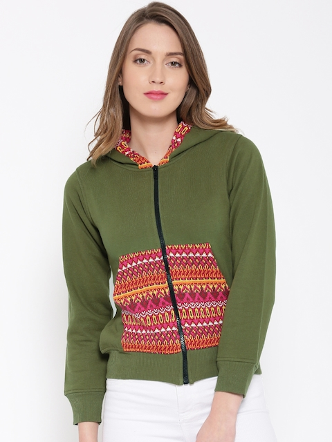 RARE Olive Green Patterned Hooded Sweatshirt