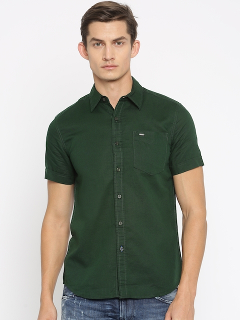 Lee Men Green Slim Fit Casual Shirt