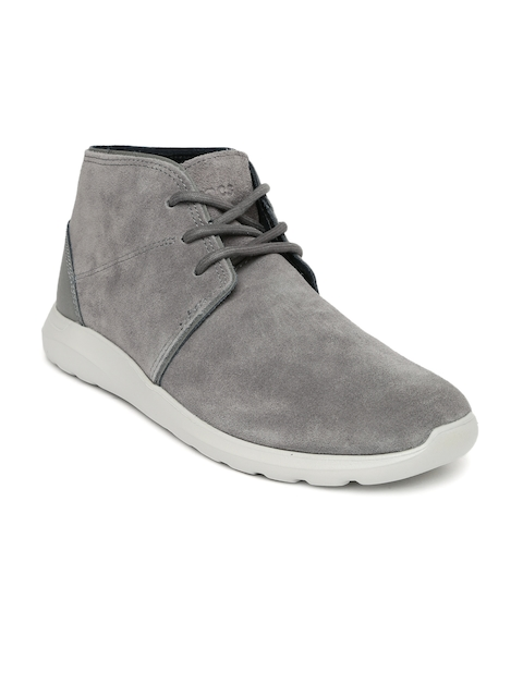 Crocs Men Grey Kinsale Suede Mid-Top Flat Boots