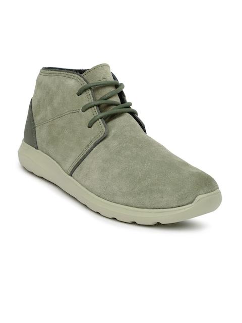 Crocs Men Olive Green Solid Suede Mid-Top Kinsale Chukka Sneakers