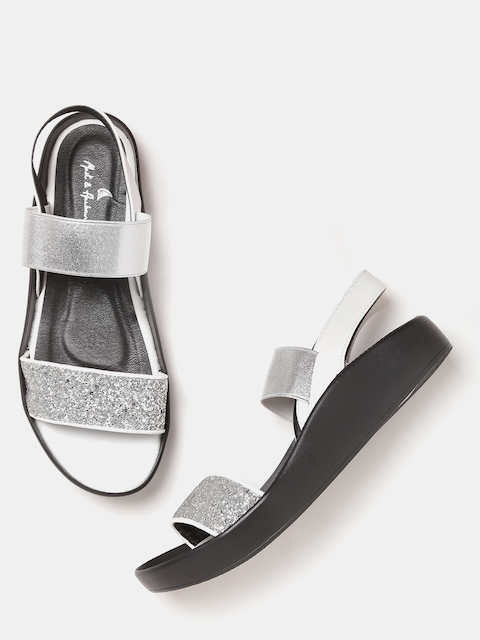 Mast & Harbour Women Silver-Toned Shimmer Flats