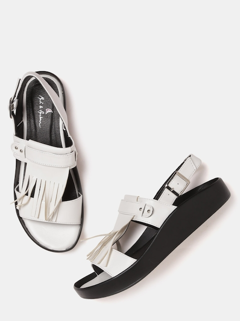 Mast & Harbour Women White Solid Fringed Open-Toed Flats