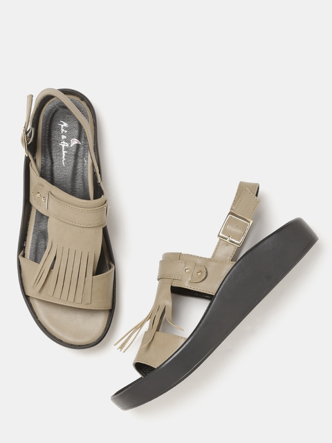 Mast & Harbour Women Beige Solid Fringed Open-Toed Flats
