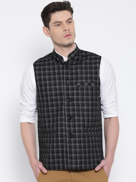 Fort Collins Black & Grey Checked Nehru Jacket