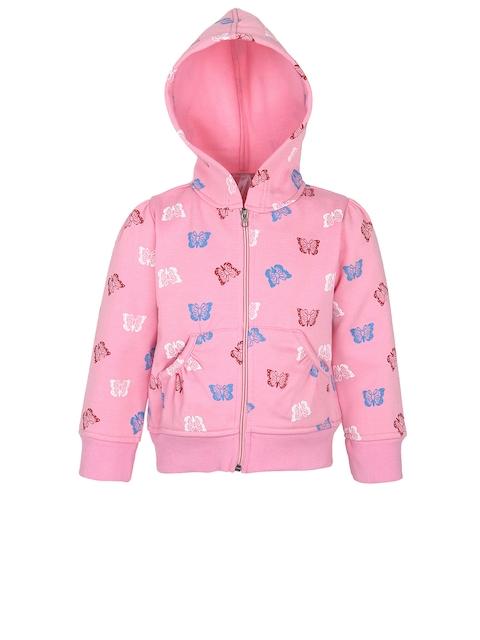 StyleStone Girls Pink Printed Hooded Jacket