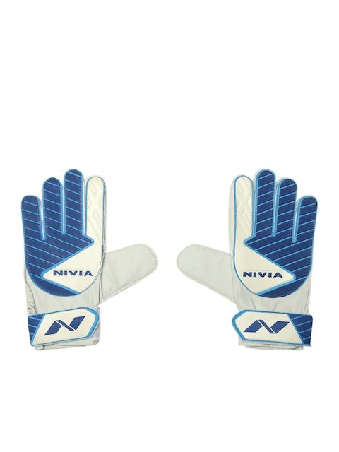 NIVIA Unisex Blue & Off-White Printed Armour Goal Keeper Football Gloves