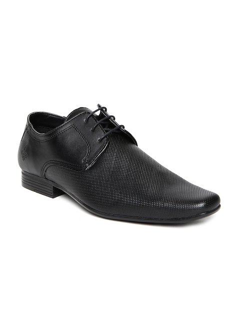 Bond Street by Red Tape Men Black Textured Formal Shoes