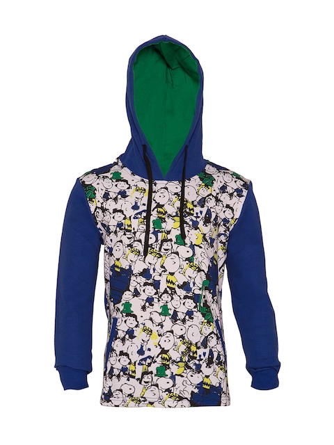 lumber boy Boys Blue Printed Hooded Sweatshirt