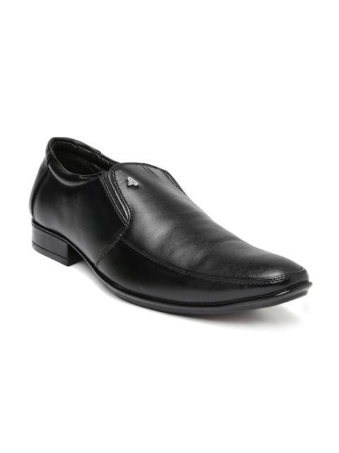 Provogue Men Black Leather Semiformal Slip-Ons